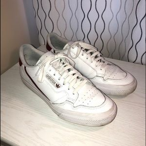 Adidas continental 80 with burgundy line